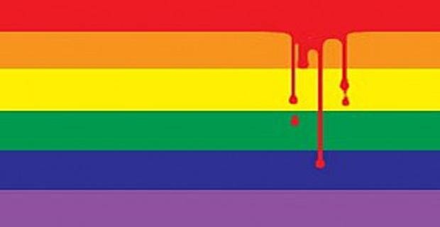 Bandera gay sangrando